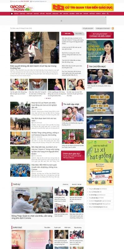 Mẫu thiết kế website tin tức -giaoducthoidai.vn-Báo Giáo dục và Thời đại Online