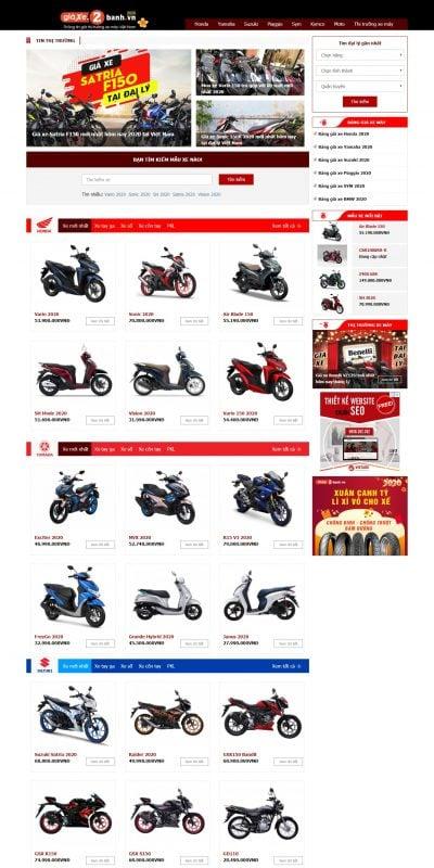 Mẫu thiết kế website bán hàng giaxe.2banh.vn-Giá Xe 2 Bánh – Tra cứu giá xe máy