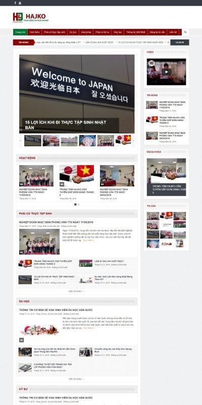 Mẫu thiết kế website tin tức – hajko.vn-Trung tâm cung ứng nhân lực và xuất khẩu lao động Hajko