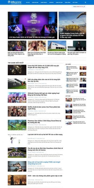 Mẫu thiết kế website tin tức – infogame.vn-InfoGame – Chuyên trang báo game uy tín duy nhất ở Việt Nam