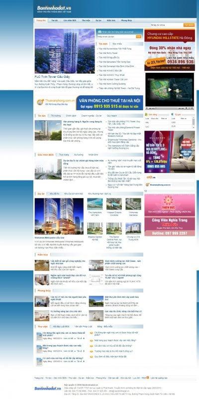 Mẫu thiết kế website tin tức www.bantinnhadat.vn-Ban Tin Nha Dat – Tin tức bất động sản Việt Nam