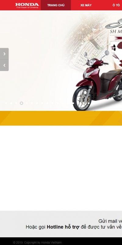 Mẫu thiết kế website bán hàng www.honda.com.vn-Honda Việt Nam
