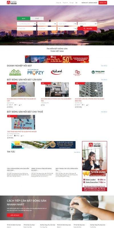 Mẫu thiết kế website tin tức www.muabannhadat.vn-Mua bán nhà đất bất động sản uy tín nhất Việt Nam – MuaBanNhaDat