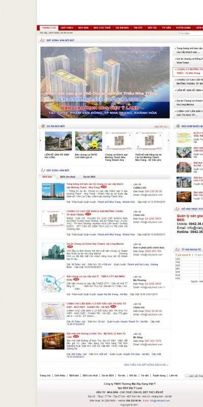Mẫu thiết kế website tin tức www.vietyland.com-Sàn Giao dịch Bất động sản Việt Ý, Sàn bất động sản, bất động sản Việt Ý