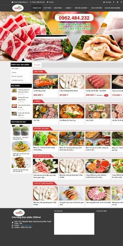 Mẫu thiết kế website bán hàng 102food.vn-Thực phẩm sạch 102food