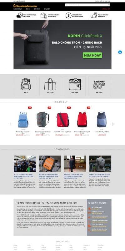 Mẫu thiết kế website bán hàng balohanghieu.com-Balo Hàng Hiệu – Hệ thống cửa hàng Balo, Túi, Phụ Kiện Online đầu tiên tại Việt Nam