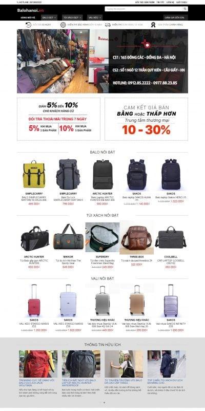 Mẫu thiết kế website bán hàng balohanoi.vn-Mua BALO, TÚI XÁCH, VALI KÉO Giá Rẻ ở HÀ NỘi – Balo Hà Nội