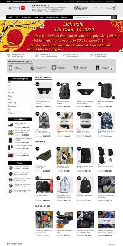 Mẫu thiết kế website bán hàng balono1.vn-Balo No.1 Chuyên Balo – Túi Đeo Chéo Hàng Hiệu Giá Rẻ
