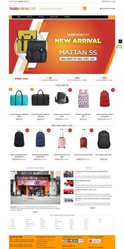 Mẫu thiết kế website bán hàng -baloonline.com-balo online – hệ thống cửa hàng bán balo vali kéo túi thể thao