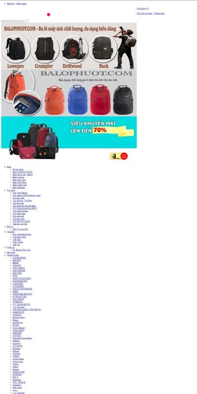 Mẫu thiết kế website bán hàng balophuot.com-Shop bán balo đẹp, balo hàng hiệu, ba lô giá rẻ nhất thị trường