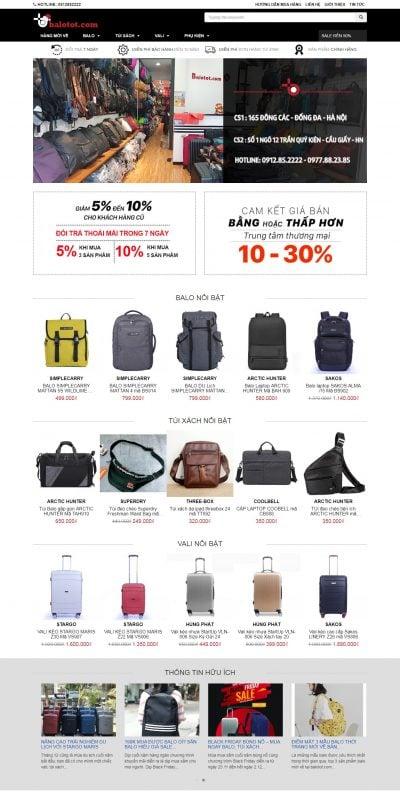 Mẫu thiết kế website bán hàng balotot.com-Balo Tốt, Hệ thống Balo, Túi xách, Vali kéo Hàng Đầu Việt Nam