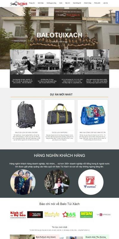 Mẫu thiết kế website bán hàng balotuixach.vn-Xưởng may balo túi xách, nhận gia công balo túi xách, xưởng gia công túi xách