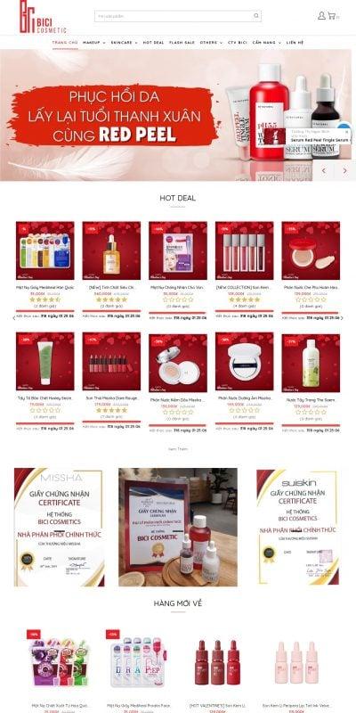 Mẫu thiết kế website bán hàng -bicicosmetics.vn-Bicicosmetics