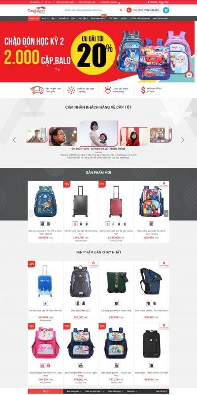 Mẫu thiết kế website bán hàng captot.vn-Hệ thống cửa hàng Cặp, Balô, Vali kéo du lịch chính hãng