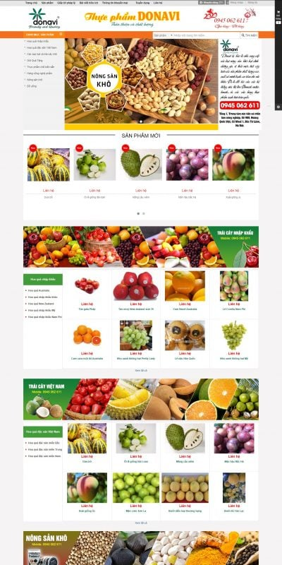 Mẫu thiết kế website bán hàng donavi.vn-Thực Phẩm Sạch Donavi