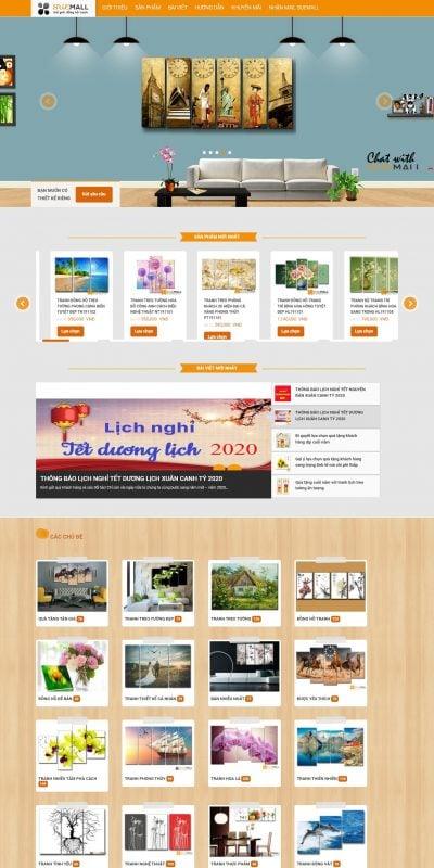 Mẫu thiết kế website bán hàng donghotranh.com.vn-Quà tặng đồng hồ treo tường – SueMall – Thế giới đồng hồ tranh