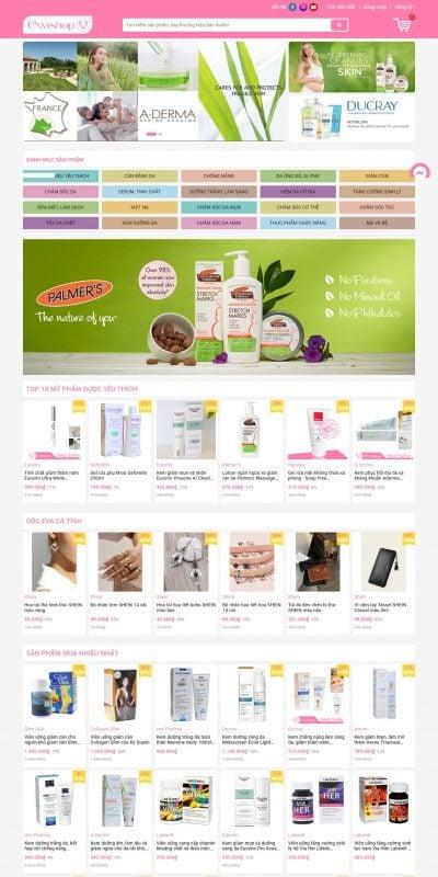 Mẫu thiết kế website bán hàng evashop.com.vn-Mua sắm khoẻ đẹp – EVASHOP.COM.VN
