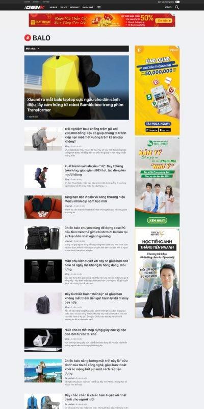 Mẫu thiết kế website bán hàng genk.vn-BALO, Tin tức công nghệ mới, CHUYÊN SÂU về Balo – GenK.vn