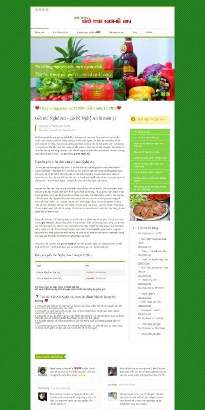 Mẫu thiết kế website bán hàng giomenghean.com-Giò me Nghệ An – Đặc sản Nghệ An – Quà quê ngon và sạch