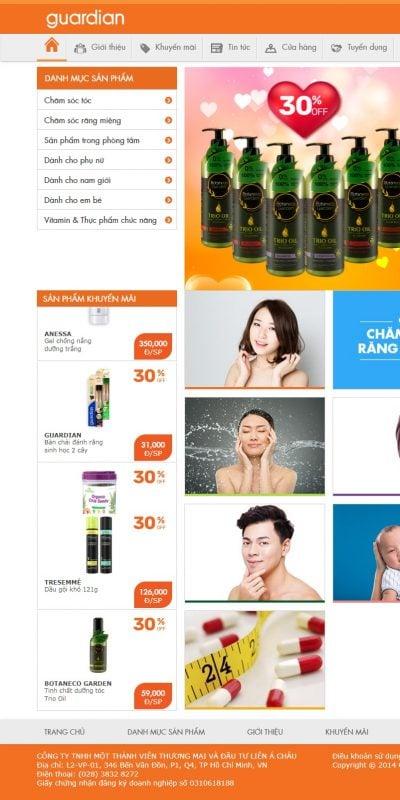 Mẫu thiết kế website bán hàng guardian.com.vn-Guardian Việt Nam cam kết vì sức khỏe và sắc đẹp khách hàng
