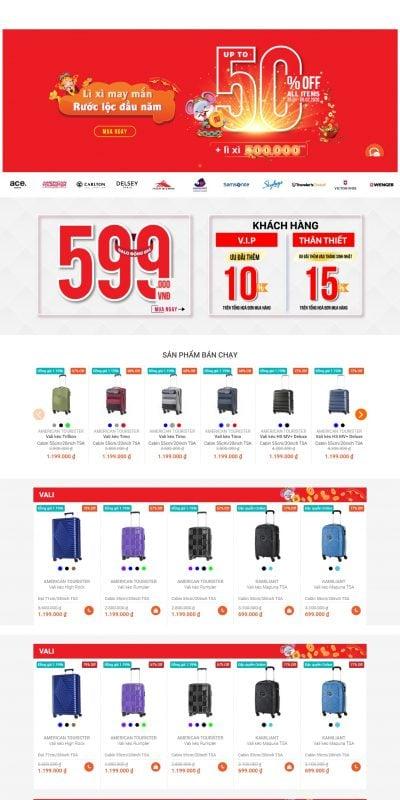 Mẫu thiết kế website bán hàng hol.com.vn-HOL – Phân phối độc quyền vali, balo, túi xách chính hãng