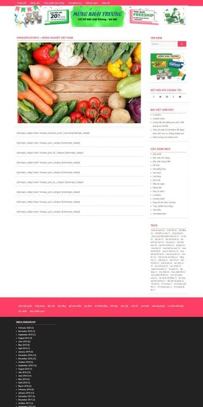 Mẫu thiết kế website bán hàng kinggroup.info-Nông Sản Việt Nam