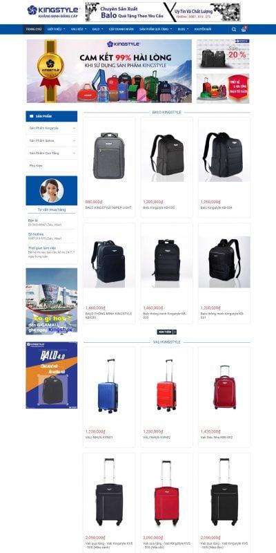 Mẫu thiết kế website bán hàng kingstyles.vn-Balo thông minh Kingstyle – sản phẩm cao cấp chất lượng hàng đầu