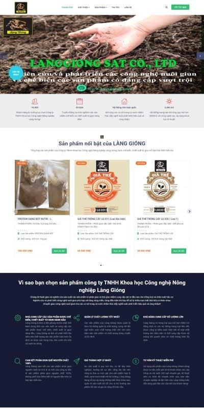 Mẫu thiết kế website bán hàng -langgiong.com-Công ty TNHH Khoa học Công nghệ Nông nghiệp Làng Gióng