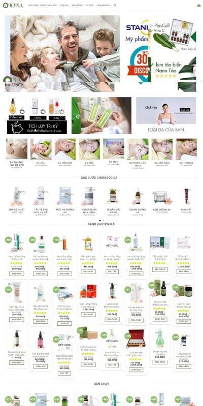 Mẫu thiết kế website bán hàng lona.top-Mỹ phẩm từ mỹ viện – Lona Top
