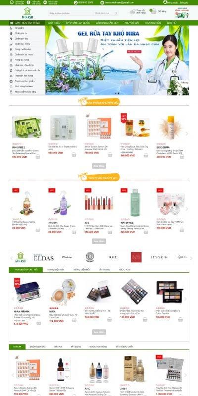Mẫu thiết kế website bán hàng miraso.vn-Miraso ® – Hệ Thống Siêu Thị Mỹ Phẩm Hàn Quốc Số #1 Việt Nam