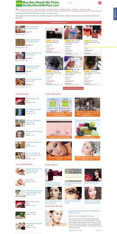 Mẫu thiết kế website bán hàng muabannhanhmypham.com-Mua Bán Nhanh Mỹ Phẩm, Mỹ Phẩm trang điểm, mỹ phẩm làm đẹp