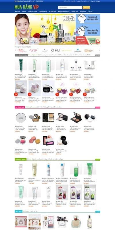 Mẫu thiết kế website bán hàng muahangvip.com-Mỹ phẩm làm đẹp và chăm sóc da Hàn Quốc, Nhật Bản, Đài Loan chính hãng
