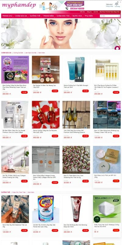 Mẫu thiết kế website bán hàng myphamdep.vn-Mỹ Phẩm Đẹp
