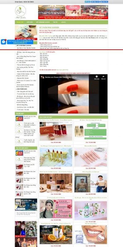 Mẫu thiết kế website bán hàng myphamminigarden.net-Công ty TNHH Sản xuất và Thương Mại Mini Garden Việt Nam, Mỹ phẩm Mini Garden