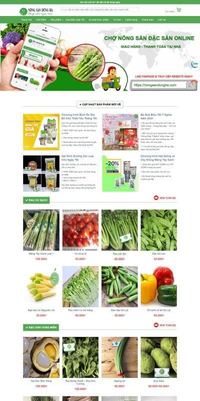Mẫu thiết kế website bán hàng nongsandungha.com-Thực phẩm sạch Dũng Hà chuyên cung cấp rau sạch, đặc sản vùng miền