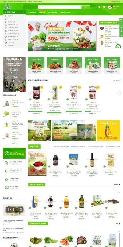 Mẫu thiết kế website bán hàng organicfood.vn-Organicfood.vn- Organic Convenience Store