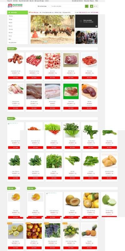 Mẫu thiết kế website bán hàng picfood.vn-Chuỗi cửa hàng thực phẩm sạch – Thực phẩm an toàn tại Thanh Hóa