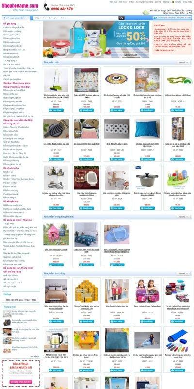 Mẫu thiết kế website bán hàng shopbevame.com-Shopbevame bán đồ chơi, đồ dùng cho Bé và Mẹ, đồ dùng tiện ích gia đình
