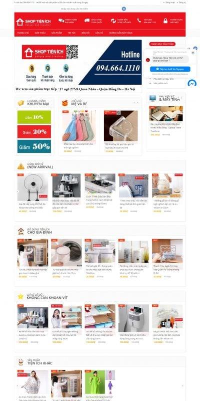 Mẫu thiết kế website bán hàng shoptienich.com.vn-Đồ Dùng Tiện Ích – Gia Dụng Thông Minh – Áo mưa MăngTo