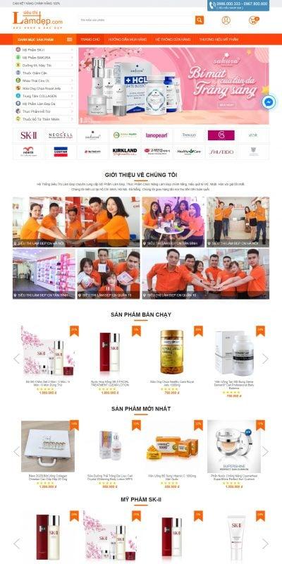 Mẫu thiết kế website bán hàng sieuthilamdep.com-Siêu Thị Làm Đẹp – Mỹ Phẩm & TPCN Nhập Khẩu Chính Hãng 100%