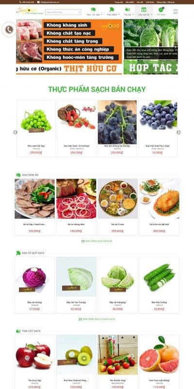Mẫu thiết kế website bán hàng sunfood.com.vn-Cửa hàng thực phẩm sạch Sunfood