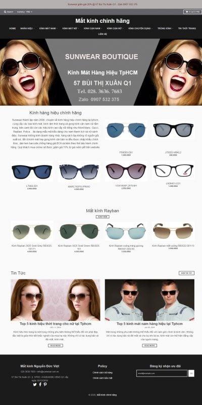 Mẫu thiết kế website bán hàng sunwear.vn-Kính mát hàng hiệu – Mắt kính chính hãng