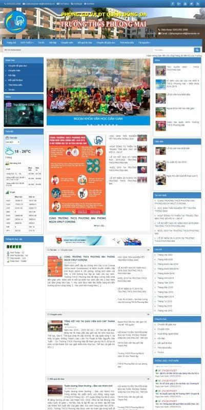Mẫu thiết kế website trường học – thcsphuongmai.edu.vn-Trường THCS Phương Mai