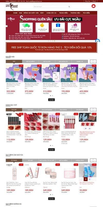 Mẫu thiết kế website bán hàng thegioiskinfood.com-Thế Giới SkinFood – Mỹ phẩm Hàn Quốc chính hãng