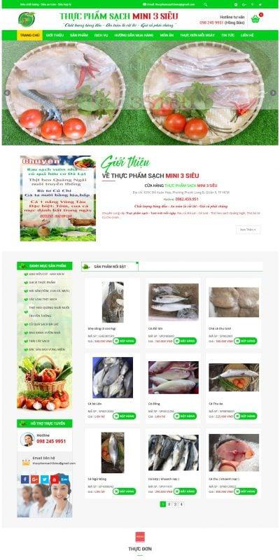 Mẫu thiết kế website bán hàng thucphamsach3sieu.com-Thực Phẩm Sạch MINI 3 Siêu – Chuyên cung cấp rau củ quả sạch Quận 9