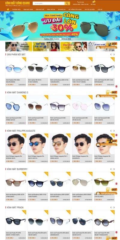 Mẫu thiết kế website bán hàng www.kinhmatdangquang.vn-Kính mắt Đăng Quang – Kính mát chính hãng, cao cấp