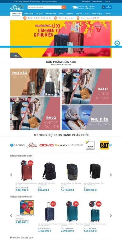 Mẫu thiết kế website bán hàng www.kosshop.vn-KOS Shop – Cửa Hàng Bán Vali kéo, Balo, Túi xách cao cấp