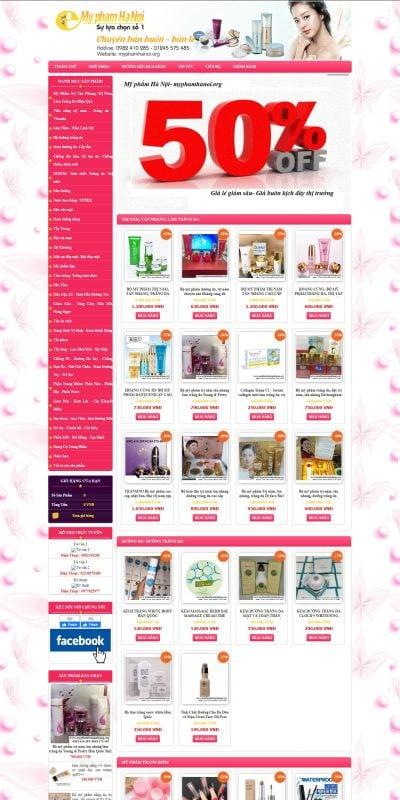 Mẫu thiết kế website bán hàng www.myphamhanoi.org-Mỹ phẩm Hà Nội- Mỹ phẩm Hàn Quốc xách tay cao cấp