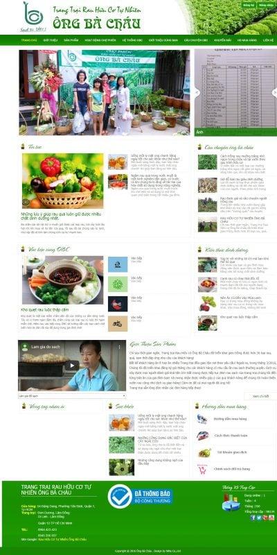 Mẫu thiết kế website bán hàng www.rauhuucoongbachau.com-Trang chủ – TRANG TRẠI RAU HỮU CƠ TỰ NHIÊN ÔNG BÀ CHÁU