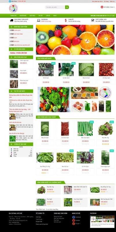 Mẫu thiết kế website bán hàng www.vicufood.com-Thực Phẩm Sạch – Vì sức khỏe cộng đồng